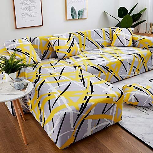 ASCV Juego de Fundas de sofá Funda de sofá geométrica Funda de sofá elástica para Sala de Estar Esquina de Mascotas en Forma de L Chaise Longue Funda de sofá A6 4 plazas