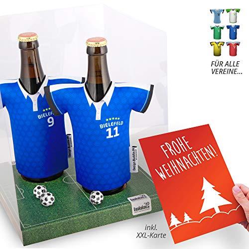 Weihnachts-Geschenk | Der Trikotkühler | Das Männergeschenk für Bielefeld-Fans | Langlebige Geschenkidee Ehe-Mann Freund Vater Geburtstag | Bier-Flaschenkühler by Ligakakao