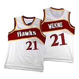 Atlanta Hawks Dominique Wilkins Camiseta de Baloncesto # 21 de los Hombres, Deportes Ropa Deportiva Retro del Chaleco sin Mangas, adecuados para el Ejercicio físico White-S