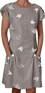 Duolou Dress for women short sleeve summer round neck print with pocket dress