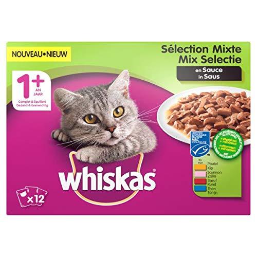 Whiskas multipack pouch adult mix selectie vlees/vis in saus kattenvoer 12X100 GR
