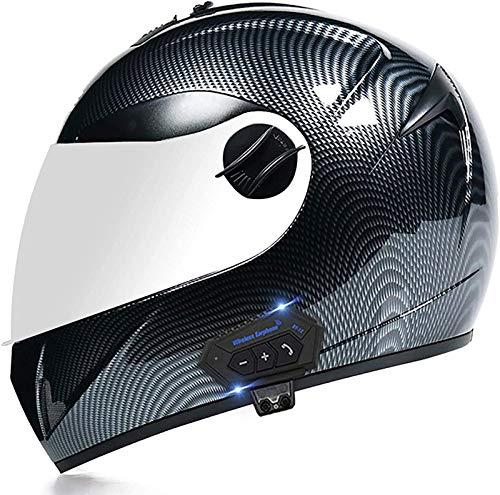 ZLYJ Casco de Motocicleta Bluetooth Cascos Integrales Bluetooth Motocicleta, Casco Bluetooth Modular de Doble Visera, Intercomunicador FM Mp3 Casco Aprobado por ECE A,M