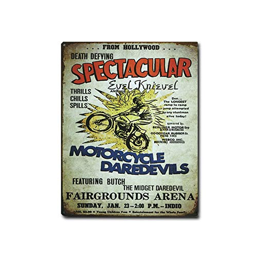 Imprints Plus Bundle Evel Knievel Daredevil Retro Tin Sign Décor - Vintage Metal Sign Complete with Screws for Hanging to Display in Your Home Bar, Garage, or Restaurant [12'X15'] (ST T 98582)