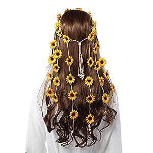 Flower Hippie Headband Floral Crown, Women Hippie Headwear Adjust Flower Headdress Hair Accessories | DeHippies.com