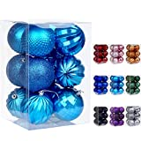 Dohance Christmas Balls Ornaments, Xmas Ball Baubles Set - Shatterproof Decorative Hanging Ornaments Baubles Set for Xmas Tree (Lake Blue, 80mm/3.15')
