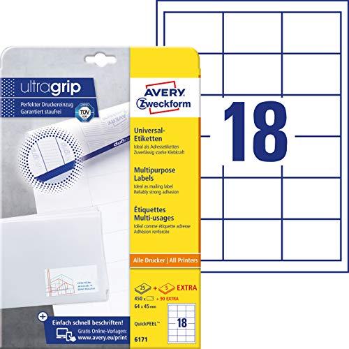 AVERY Zweckform 6171 Adressaufkleber (450 plus 90 Klebeetiketten extra, 64x45mm auf A4, Papier matt, bedruckbare Absenderetiketten, selbstklebende Adressetiketten mit ultragrip) 30 Blatt, weiß