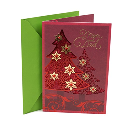 Hallmark Christmas Card for Mom and Dad (Red Foil Tree)
