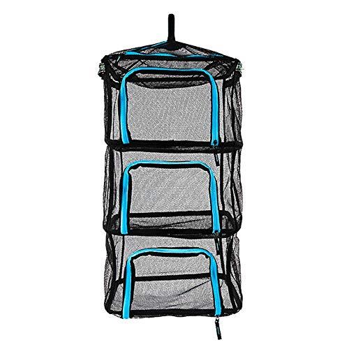Secador plegable al aire libre de la malla de cubo de fijación para almacenamiento de pesca, azul