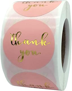 Label Stickers Gift Tags 500 Stickers Thank you Handmade with Love Pink Collection (Thank you, Large 1.5 inch)