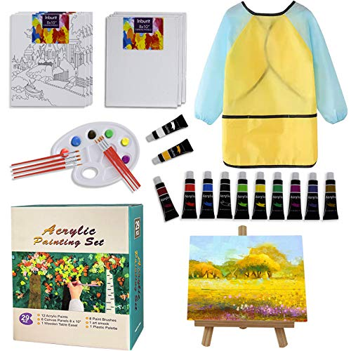 Art Paint Set for Kids, Acrylic Painting Supplies with Canvas Panels, Brushes, Acrylic Paints, Wood Table Easel, Palette, for Students, Kids and Little Artists.
