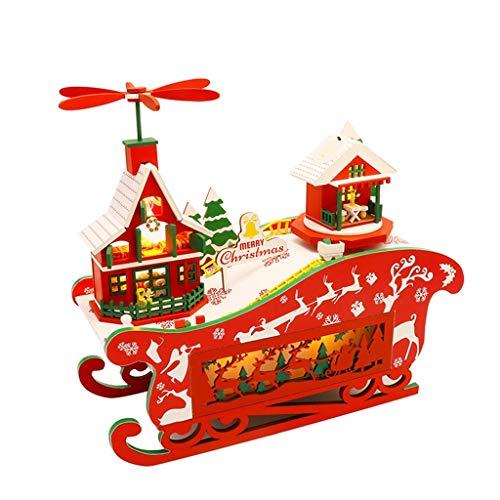 Puppenhaus Holz Puppen DIY Dillhouse Mini Haus Geburtstag Festival Weihnachten Holzhaus Zimmer Spielzeug mit LED Lichtern und Rotierender Musikkabine,Weihnachtliche Holz Dekoration (Red)