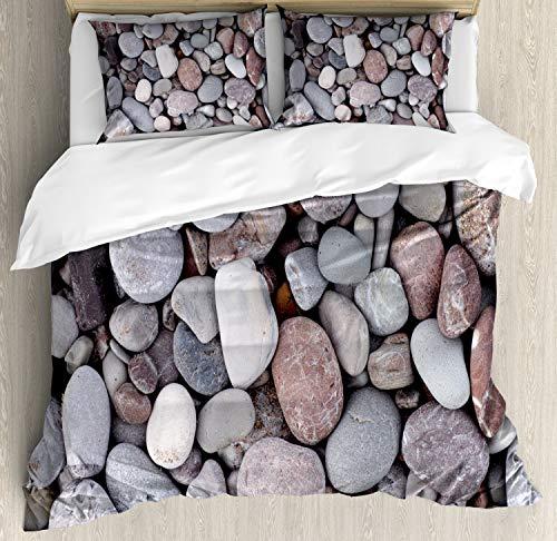 ABAKUHAUS Felsen Funda Nórdica, Elementos de mar Pila de Piedras, Estampado Lavable, 3 Piezas con 2 Fundas de Almohada, 230 cm x 220 cm, Multicolor