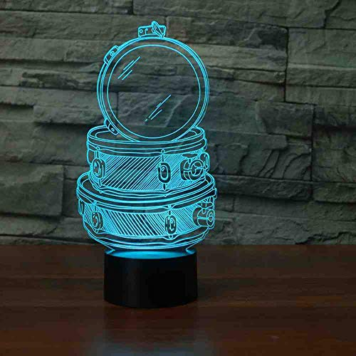 RJGOPL Novelty Drum Set 3D Night Light Bouwlamp LED Night Lamp Usb Remote Touch Colorful Usb Nightlight voor Kid Gift