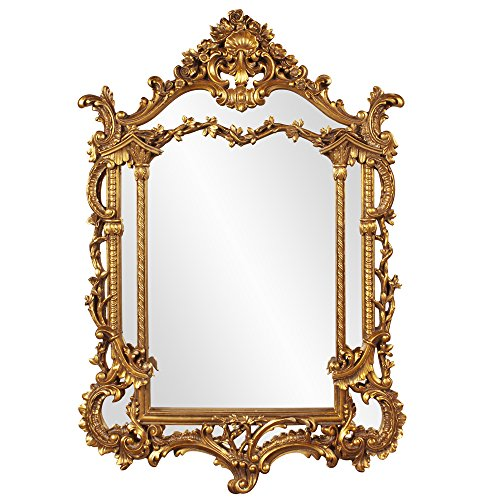 Howard Elliott Arlington Baroque Hanging Wall Mirror, Ornate Arched Rectangle Frame, Gold Leaf Resin, Antique Mirror for Bathroom, Bedroom or Any Room, 34 x 49 Inch