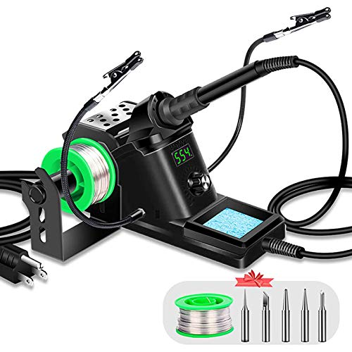 LONOVE Soldering Iron Station Kit – 60W Solder Station 194℉-896℉ Adjustable Temperature, LED Display, Sleep Function, C/F Switch, 2 Helping Hands, 5 Extra Solder Tips & 1 Solder Wire - Black