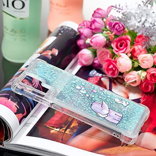 Misstars Glitzer Flüssig Hülle für Huawei P30 Pro, Bling Sparkle Treibsand Handyhülle Transparent mit Muster Elefant und Hase Design Weich TPU Silikon Stoßfest Schutzhülle - 2