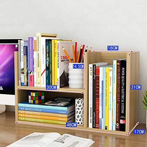 Houten bureaublad plank, gemonteerd gratis staande multifunctionele aanrecht boekenkast voor kantoorboeken keuken opslag kruidenrek 48x17x31cm(19x7x12inch) Licht Walnoot
