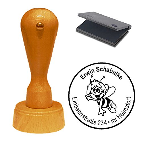 Stempel met kussen « COMIC BIENE » Adressenstempel firmastempel Imker Honing