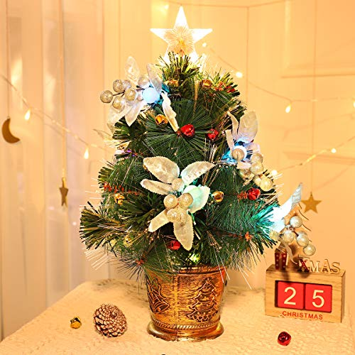 Unomor Tabletop Christmas Tree with LED Star Treetop, Mini Artificial Christmas Tree with Fiber Optic Lights and Silver Berries for Christmas Decorations - 20 Inch Christmas Bells Not Include