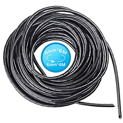 Tubo organizado para cables de 10 m, 6 mm, color negro en...