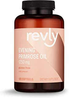 Amazon Brand - Revly Cold-pressed Evening Primrose Oil, 1250 mg, 120 Softgels, 4 Month Supply, Satisfaction Guaranteed