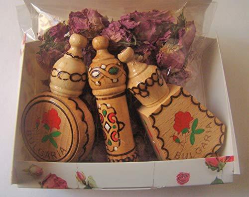 Lema Bulgarisches rosenöl-parfüm kleine geschenkbox mit 3 fläschchen aus holz souvenirs getrocknete rosenblüten
