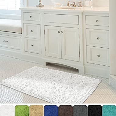 Mayshine 24x39 inch Non-slip Bathroom Rug Shag Shower Mat Machine-washable Bath mats with Water Absorbent Soft Microfibers of - White