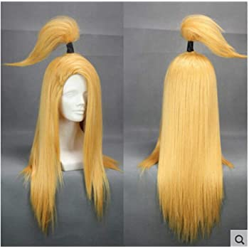 "Anime Naruto Akatsuki Deidara 26/"" Straight Blonde Wig Cosplay Costume Accessory"