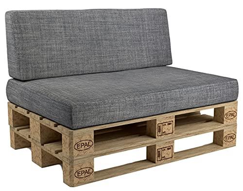 POKAR Cuscino per Pallet sfoderabile, Set di 2: 1x Cuscino per Seduta 120x80 + 1x Cuscino per Schienale 120x40, Divano per Pallet, Grigio