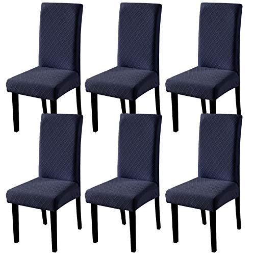 YISUN Universal Stretch Stuhlhussen 4er 6er Set Stuhlbezug für Stuhl Esszimmer (6er Set, Dunkelblau)