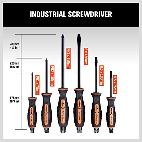HORUSDY 6-Pieces Magnetic Screwdriver Set, 3 Phillips and 3 Flat Head Tips Screwdriver for Fastening, Chiselling and Loosening Seized Screws (New Screwdriver Set)