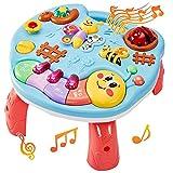 LINFUN KIDS Mesa de Actividades Musicales Insecto Mesa de Aprendizaje Juguetes Musicales Luces y Sonido Regalos para Niños Niñas 1+ Años