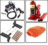 AutoStark Car Accessories Combo Air Compressor + 2 Ton Hydraulic Bottle + Puncture