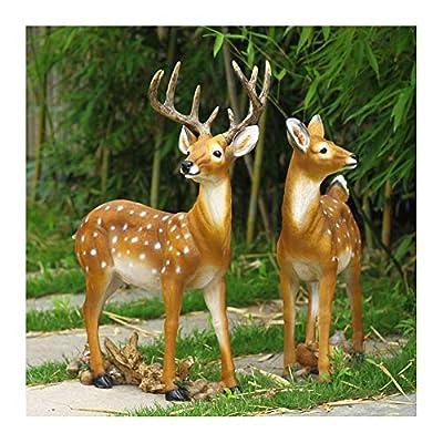 QXX Sika Deer Animal Sculpture Outdoor Garden Crafts Decoration Lawn Statue Ornament