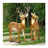 WEN Niedliche Sikahirsch Tier Skulptur Outdoor Garten Ornament