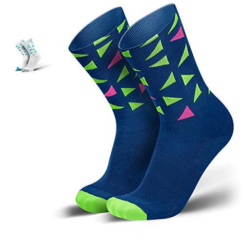 INCYLENCE Triangles Sportsocken lang, leichte Kompressionsstrümpfe, atmungsaktive Funktionssocken mit Anti-Blasen Schutz, Running Socks, dunkelblau neongrün pink, 35-38