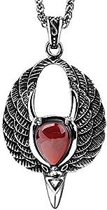 Onefeart Titanio Colgante Collar para Mujer Chicas Redondo Ágata Punk Estilo Horn Forma Roja Gem Diseño 60CM Plata
