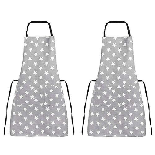 PEAK-EU 2 Set Küchenschürze Latzschürze kochschürze mit verstellbarem Nackenriemen Und Mit Zwei Taschen Einfach zu Reinigen für Frauen Männer (Grau)