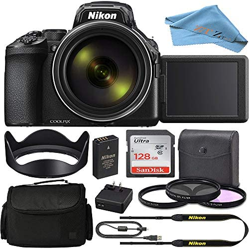 Nikon COOLPIX P950 Digital Camera 26532 w/ 83x Optical Zoom Lens and SanDisk 128GB Memory Card and 3 Pcs Multi Coated Glass Filter Kit & Camera Case and ZeeTech Accessory (Black) (Basic Bundle)