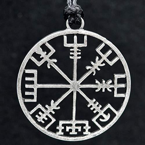 QLRL Vintage Vikingo nórdico símbolo de Runa Colgante Collar Cuerda Cadena Runa brújula para Mujeres Hombres Amuleto joyería