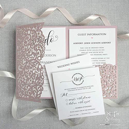 Pink Matt Lasergeschnittene + Kuvert Hochzeit Einladungskarten DIY Laser Cut + Umschläge Geburtstag Taufe Hochzeitseinladungen Mach es selbst! Vorgedrucktes Sample!