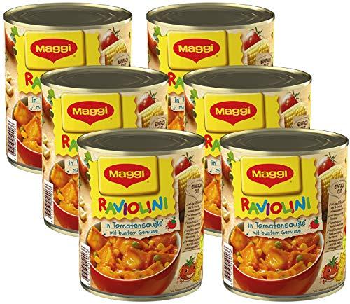 MAGGI Raviolini in Tomatensauce, vegetarische Mini-Teigtaschen in fruchtiger Sauce, mit buntem Gemüse, für Topf & Mikrowelle, 6er Pack (6 x 800 g)