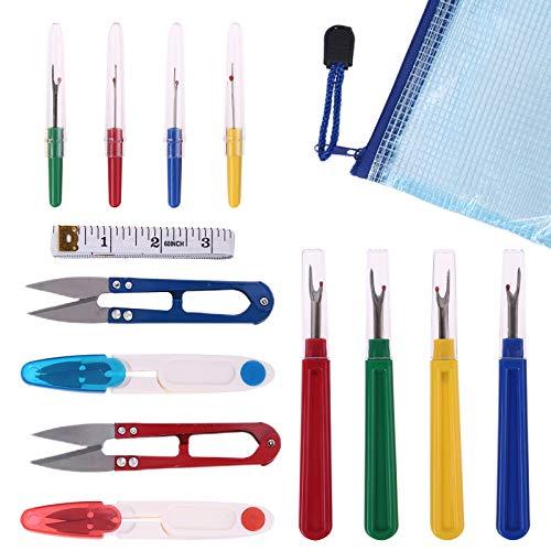 Juego de 14 piezas para descoser, cortador de hilos, tijeras, removedor de hilo de coser, bolsa de almacenamiento suave