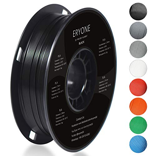 Filamento PLA 1.75mm, Eryone PLA Filamento 1.75mm, Stampante 3D Filamento PLA Per Stampante 3D, 1kg 1 Spool,Nero