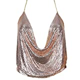 Croozy Women's Sexy Metallic Sequin Body Chain Shimmer Backless Halter Crop Top Adjustable Harness Bikini Chest Chain (Rose Gold)