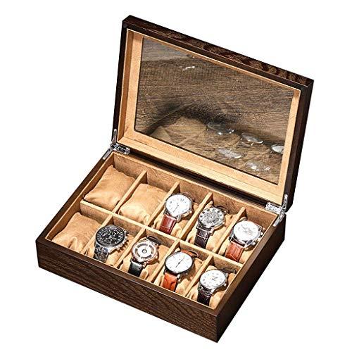 WYFX Organizador de Reloj 10 Ranuras Caja de Reloj Vitrina de joyería Organizador de Reloj de Madera con Pantalla de Vidrio para Hombres y Mujeres Cajas de colección