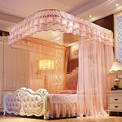 Moustiquaire Baldaquin Ciel de Lit- Support moustiquaire moustiquaires brodées guide en acier inoxydable guide moustiquaire, 200 * 180 * 210cm + rose clair