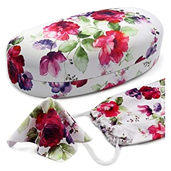 Women Floral Sunglasses case - Hard Glasses Holder - Medium to Large frames - W/ Pouch & Cloth  AS113 Cranberry Rose