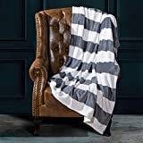 NTBAY Flannel Full/Queen Blanket, Super Soft with Grey and White Striped Printed Bed Blanket, 90 x 90 Inches