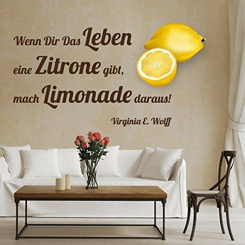 denoda® Wenn das Leben dir eine Zitrone gibt, mach Limonade daraus! Schwarz. Schwarz 94 x 50 (Wandsticker Wanddekoration Wohndeko Wohnzimmer Kinderzimmer Schlafzimmer Wand Aufkleber)